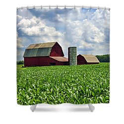 Barn In The Corn Shower Curtain