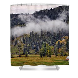 Barn In The Mist Shower Curtain
