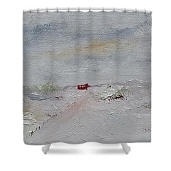 Shower Curtain featuring the painting Barn In Winter by Judith Rhue
