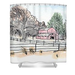 Barn In Winter Woods Shower Curtain by R Kyllo