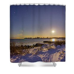 Barn Island Moonrise Shower Curtain