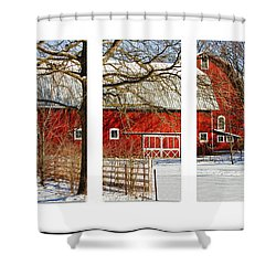 Barn Triptych Shower Curtain