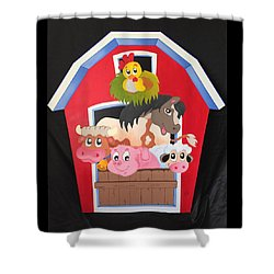 Barn With Animals Shower Curtain