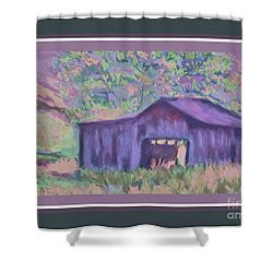 Barn With Dark Border Shower Curtain