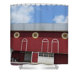 Barn With Hex Signs Shower Curtain by Jeanette Oberholtzer