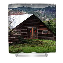 Barn With Red Bows Shower Curtain