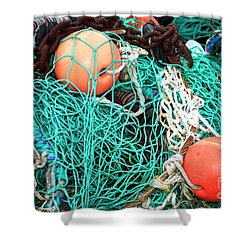 Shower Curtain featuring the photograph Barnegat Fishing Nets by John Rizzuto