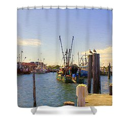 Shower Curtain featuring the photograph Barnegat Light Fishing Fleet by John Rivera