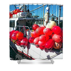 Shower Curtain featuring the photograph Barnegat Red Buoys by John Rizzuto