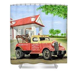 Barnett Garage Shower Curtain