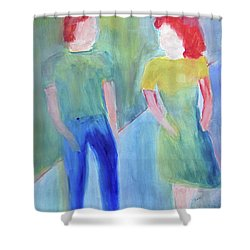 Shower Curtain featuring the painting Barney And Elizabeth by Sandy McIntire