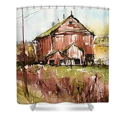 Barns And Electric Poles, Sunday Drive Shower Curtain by Judith Levins