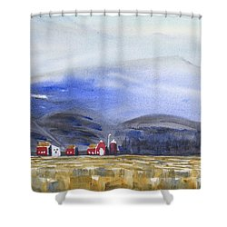 Barns In The Valley Shower Curtain by Frank Bright