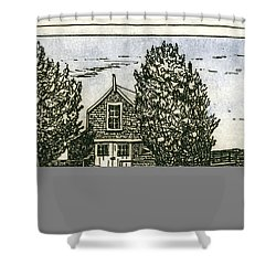 Shower Curtain featuring the mixed media Barnstable Yacht Club Etching by Charles Harden