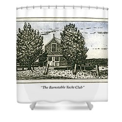 Shower Curtain featuring the mixed media Barnstable Yacht Club Greeting Card by Charles Harden