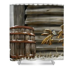 Shower Curtain featuring the digital art Barnyard Barrel And Chickadee by Darren Cannell