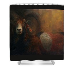 Baroque Mouflon Portrait Shower Curtain