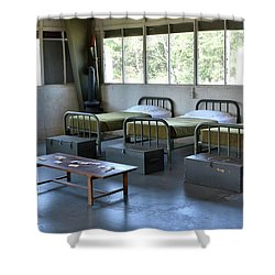 Shower Curtain featuring the photograph Barrack Interior At Fort Miles - Delaware by Brendan Reals