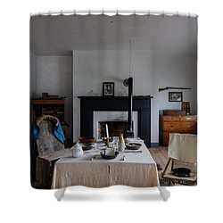 Barracks Interior At Fort Laramie National Historic Site In Goshen County Shower Curtain by Carol M Highsmith