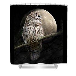 Barred Owl Moon Glow Shower Curtain