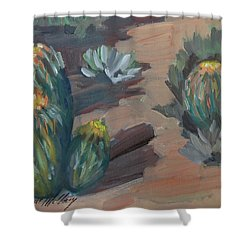 Shower Curtain featuring the painting Barrel Cactus At Tortilla Flat by Diane McClary
