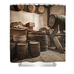 Shower Curtain featuring the photograph Barrels By The Window by Gary Heller