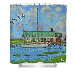 Barriar Island Boathouse Shower Curtain by Dwain Ray