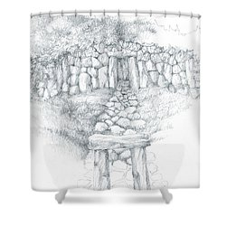 Shower Curtain featuring the drawing Barrow Tomb by Curtiss Shaffer