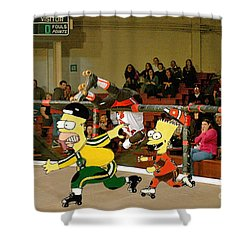 Bart Vs Homer Simpson At The Roller Derby Shower Curtain