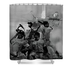 Base Ball Players Shower Curtain by Gull G