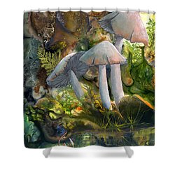 Shower Curtain featuring the painting Base Camp by Sherry Shipley