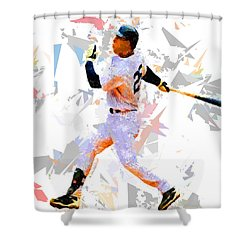 Shower Curtain featuring the painting Baseball 25 by Movie Poster Prints