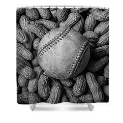 Shower Curtain featuring the photograph Baseball And Peanuts Black And White Square  by Terry DeLuco