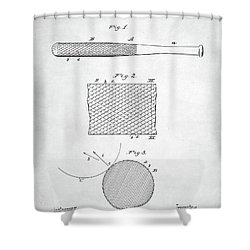 Baseball Bat Patent Shower Curtain