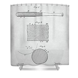 Baseball Bat Patent Shower Curtain by Taylan Apukovska