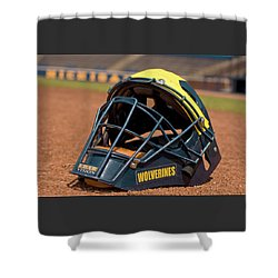 Baseball Catcher Helmet Shower Curtain