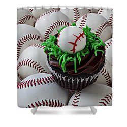 Baseball Cupcake Shower Curtain by Garry Gay