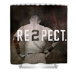 Baseball - Derek Jeter Shower Curtain by Joann Vitali
