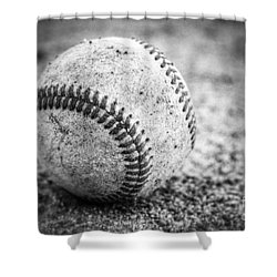 Baseball In Black And White Shower Curtain