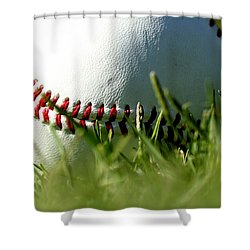 Baseball In Grass Shower Curtain by Chris Brannen