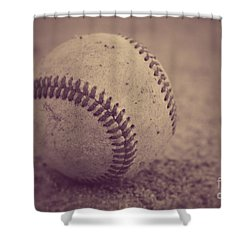 Baseball In Sepia Shower Curtain