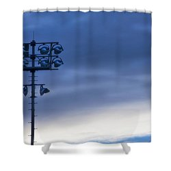 Shower Curtain featuring the photograph Baseball Lights by Joan Bertucci