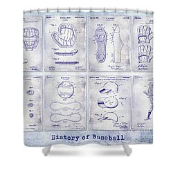Baseball Patent History Blueprint Shower Curtain