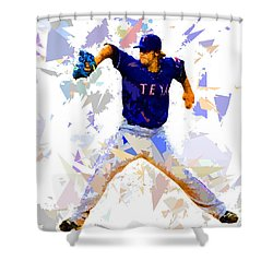 Shower Curtain featuring the painting Baseball Pitch by Movie Poster Prints