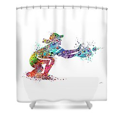Baseball Softball Catcher 2 Sports Art Print Shower Curtain