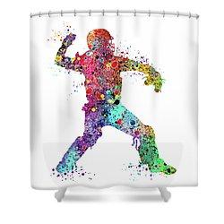 Baseball Softball Catcher 3 Watercolor Print Shower Curtain