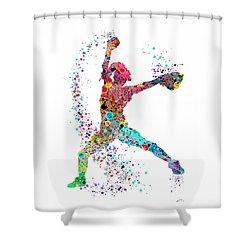 Baseball Softball Pitcher Watercolor Print Shower Curtain