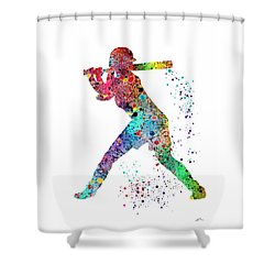 Baseball Softball Player Shower Curtain
