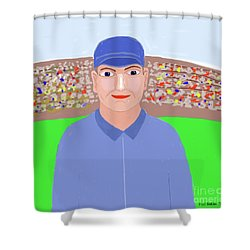 Baseball Star Portrait Shower Curtain by Fred Jinkins