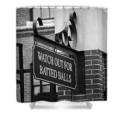 Baseball Warning Bw Shower Curtain